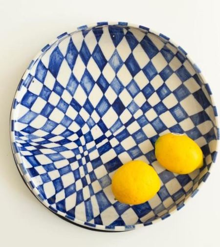 RUST DESIGNS Special Checked Bowl - blue/white