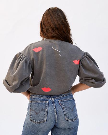 CLARE V. Drop Shoulder Sweatshirt - Faded Black