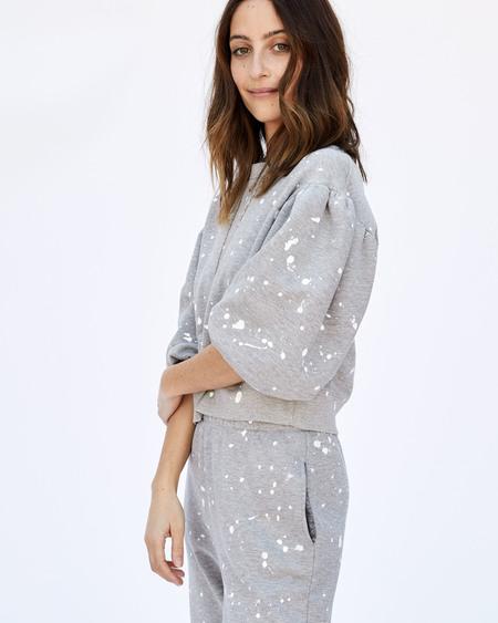 CLARE V. Drop Shoulder Sweatshirt - Light Grey Splash