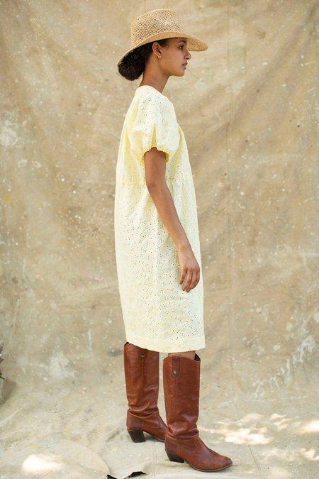 Vintage Eyelet Cotton Sundress - Yellow