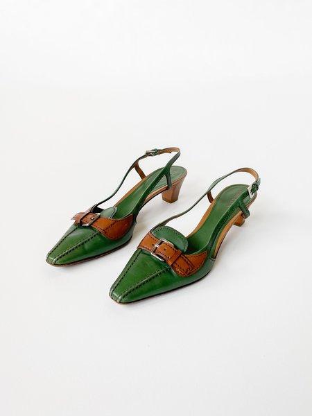 Vintage Prada Leather Buckle Heels - Forest Green