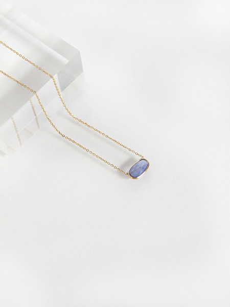 Vale Rose Cut Sapphire Slice Necklace