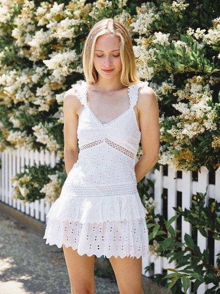 LoveShackFancy Desra Silk Mini Dress - White