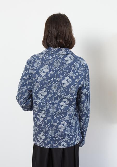 YMC Labour Chore Coat - Floral Indigo