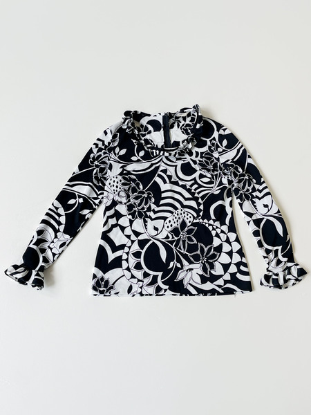 Vintage Ruffle Blouse - Psychedelic Flower Print