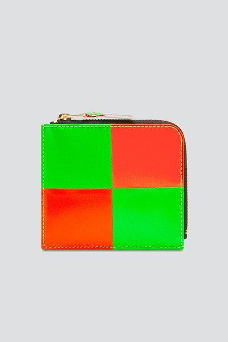 Comme des Garçons Fluo Squares Half Zip Wallet - Orange/Green