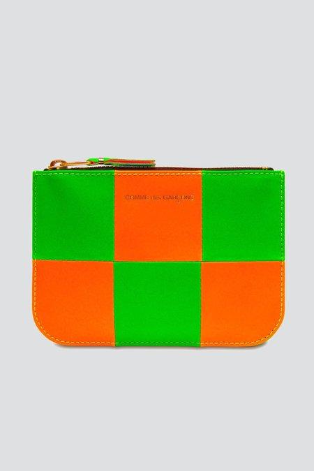 Comme des Garçons Fluo Squares Zip Pouch - Orange/Green