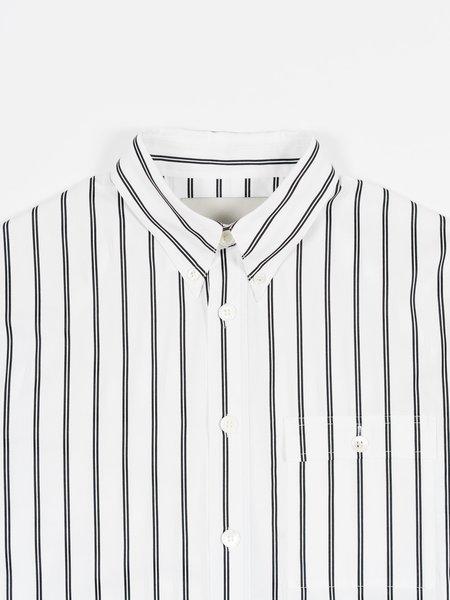 archie Button Down SHIRT - White/Black Stripe