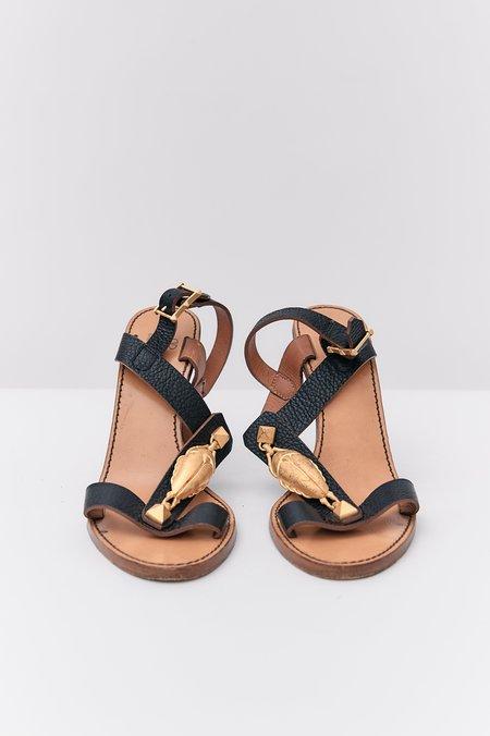 PRE-LOVED Valentino The Scarab T-Strap Sandals - BLACK