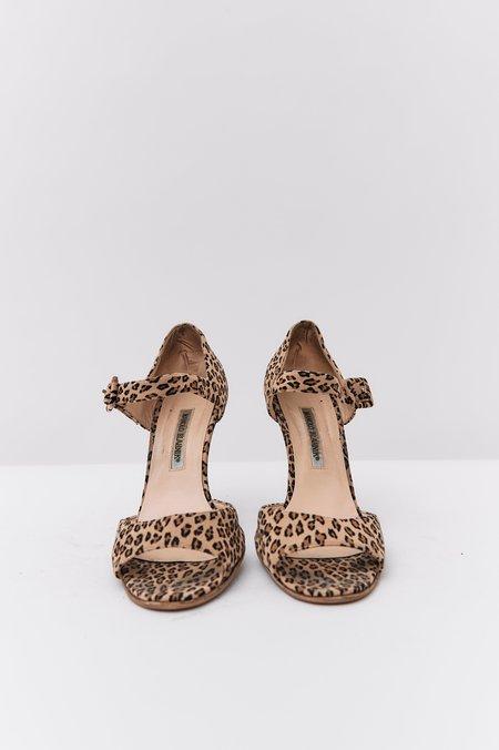 pre-loved Manolo Blahnik Suede Peep Toe Pumps - Leopard Print