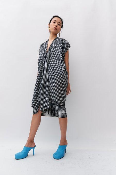 pre-loved Zero Maria Cornejo Cocoon Gingham Print Dress - Black/White