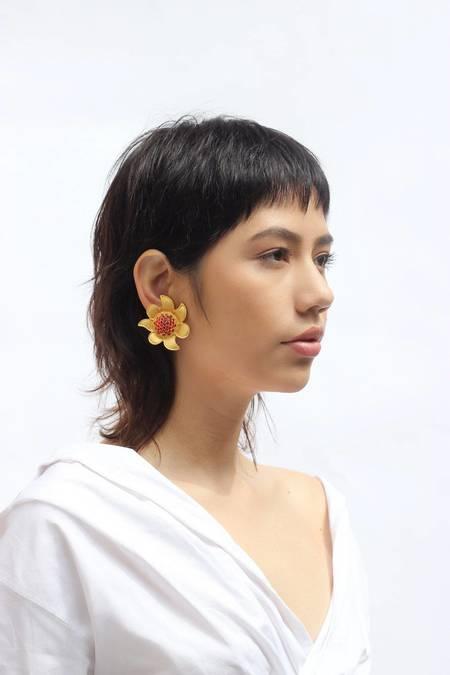 Vintage Carolina Herrera Sunburst Clip-on Earrings