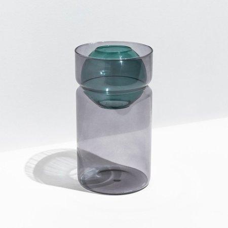 Fazeek Glass Balance Vase - Smoke/Teal