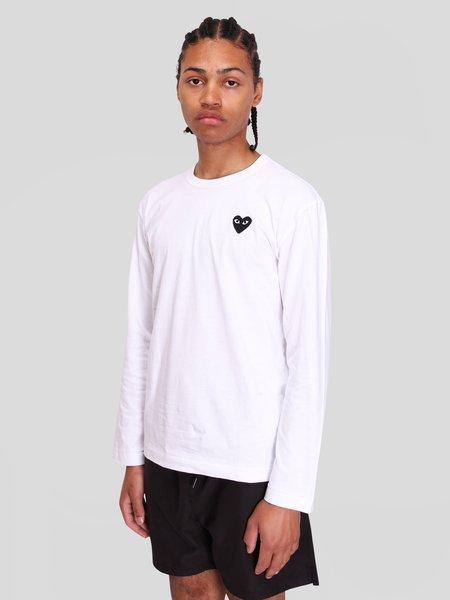 Comme des Garçons Play LS T-Shirt Black Heart - White