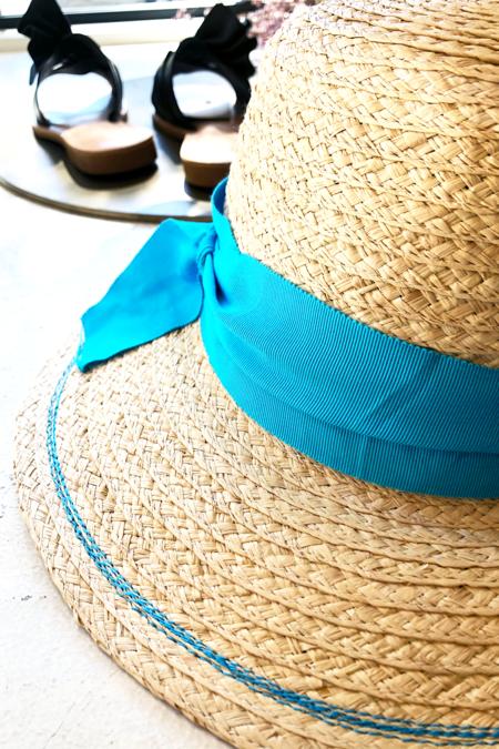 Lola Ehrlich Peanuts Raffia Straw Hat - Turquoise