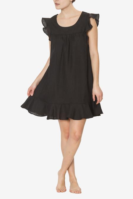 The Sleep Shirt Flounce Tunic Black Linen