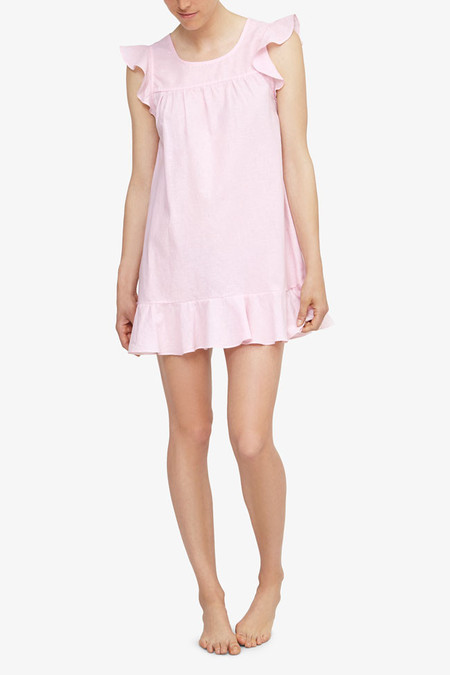 The Sleep Shirt Flounce Tunic Pink Linen Blend