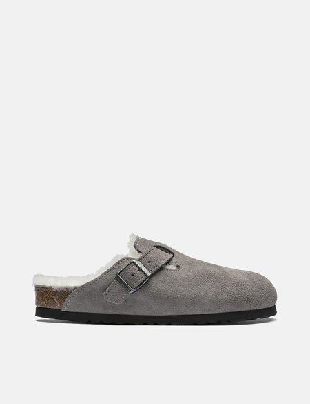 Birkenstock Boston Shearling Narrow Sandals - Grey