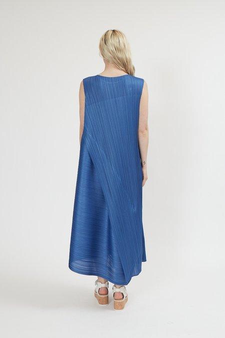 Issey Miyake Pleats Please Diagonal Pleats Dress - Blue