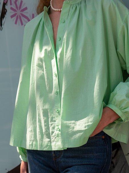 blush. Long Volume Blouse - Light Green