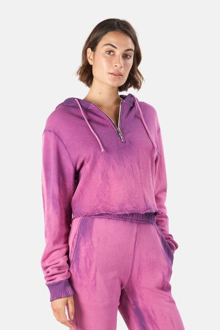 Cotton Citizen Brooklyn Crop Zip Hoodie Sweater - Lavender Mix