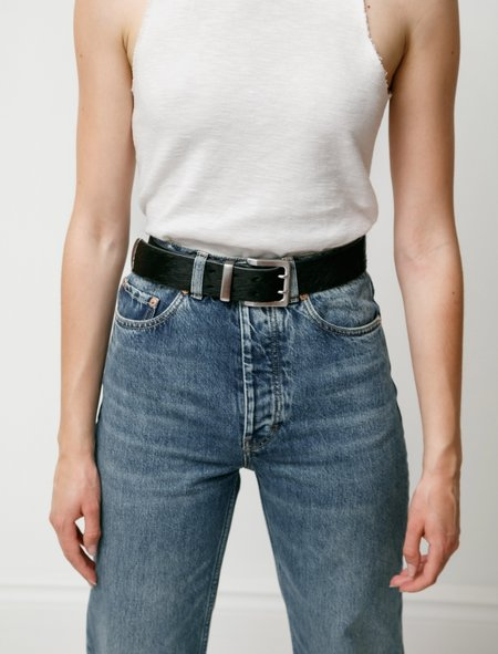 Our Legacy Double Tongue Hair on Hide Belt - BLACK