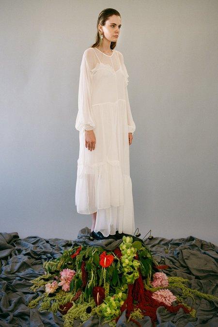 KkCo Nine Twenty-Seven Silk Yoryu Dress - Salt