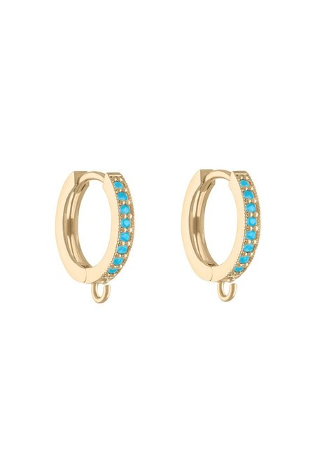 Alexa Leigh Turquoise Huggie Hoop Earring with Charm Attachment