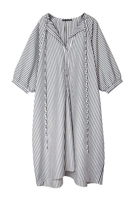 KES Pull Me To The Back Cotton Dress - Stripe