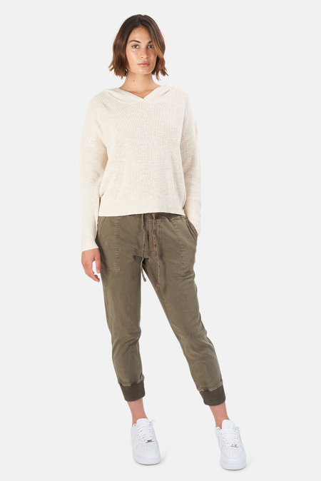 James Perse Cotton Linen Hoodie Sweater - Ivory