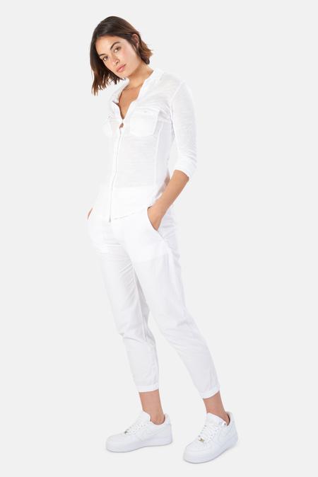 James Perse Sheer Slub Side Panel Shirt - White