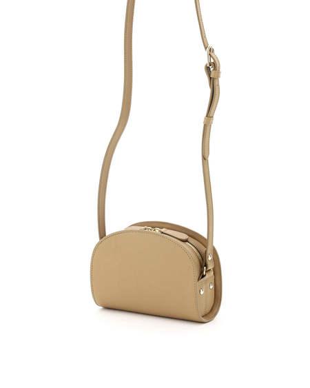 A.P.C. Mini Demi Lune Leather Bag - Beige
