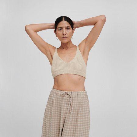 Mónica Cordera Ribbed Knit Top - Silver Green