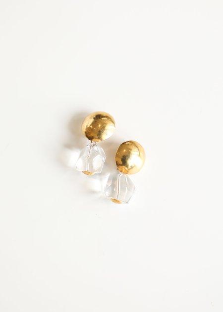 Annie Costello Brown Rock Crystal Drop - Gold Vermeil