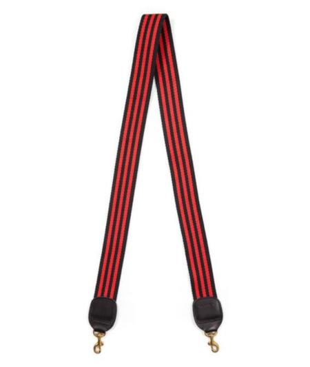 Clare V. Crossbody Strap - Mini Black/Red Stripe