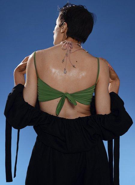 Eliza Faulkner Bow-Tie Bikini Top - Emerald Green