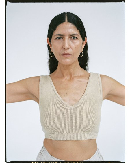 Mónica Cordera Long Knit Top - Silver Green
