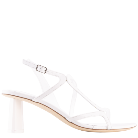 BY FAR Brigette Leather Mule - Optic White