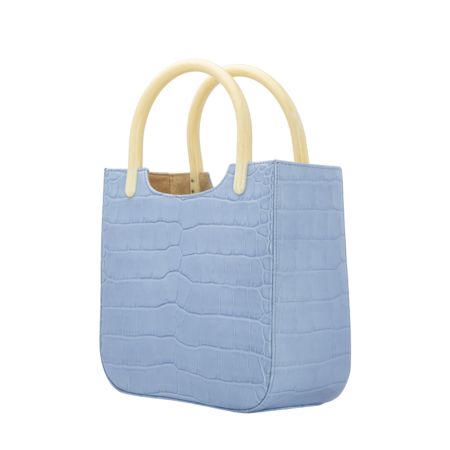 BY FAR Eric Croco Embossed Leather Bag - Sky Blue