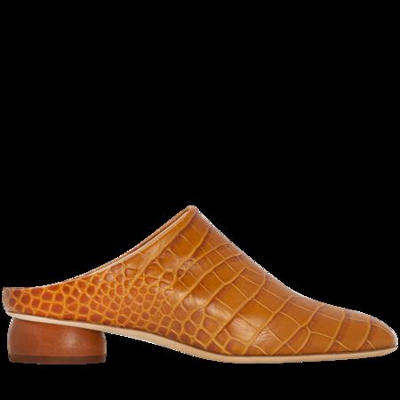 Rejina Pyo Gaby Leather Croc Mules - Tan