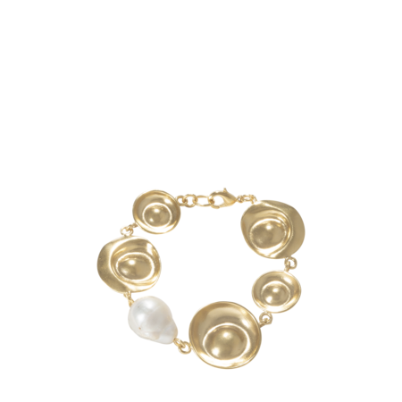 Beaufille Oyster Bracelet - Yellow Gold/White Pearl