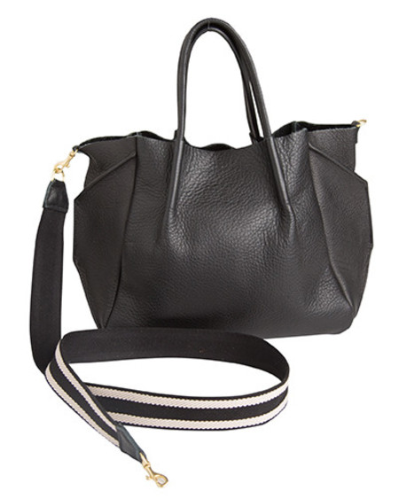 Oliveve zoe tote in black pebble cow leather striped cotton cross body strap