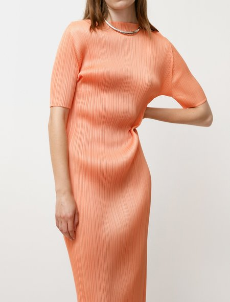 Pleats Please by Issey Miyake Bouquet Colours Dress - Coral Orange