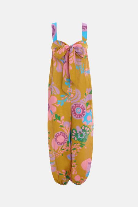 Zimmermann Teddy Tie Front Jumpsuit - Mustard Floral