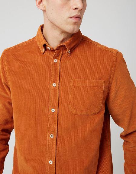 Bhode x Brisbane 14 Wale Cord Moss Shirt - Harvest Gold