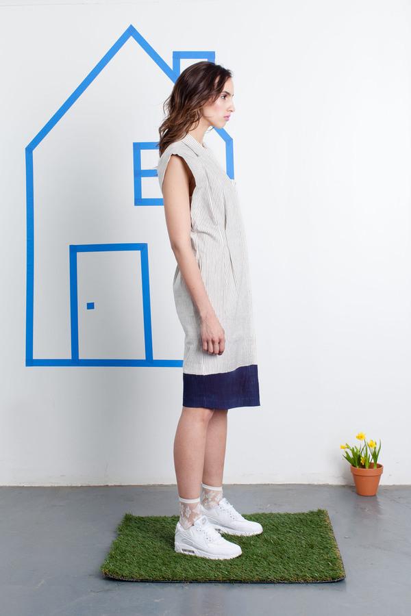Tia Cibani Inked Button Down Shirt Dress