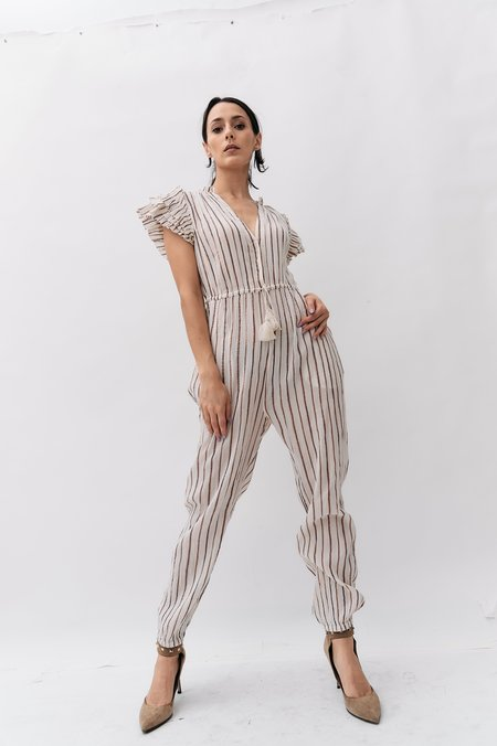 PRE-LOVED Ulla Johnson Metallic Striped Jumpsuit - Beige