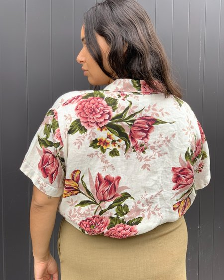 VINTAGE Linen Blouse - Roses Floral