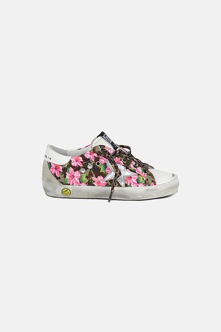 kids Golden Goose Superstar Shoes - Pink Floral/Silver Star