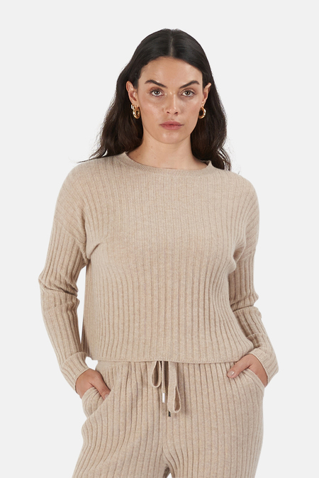 The Tile Club Francis Lightweight Ribbed Top Sweater - Beige